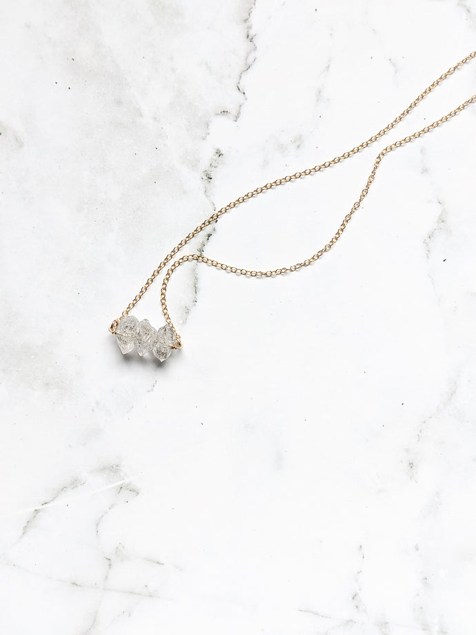 TRIPLE HERKIMER DIAMOND DIFFUSER NECKLACE