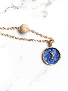 ENAMEL MEDALLION + ROSEWOOD DIFFUSER NECKLACE
