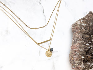 HAMMERED DISC + LAVA TRIPLE LAYER NECKLACE