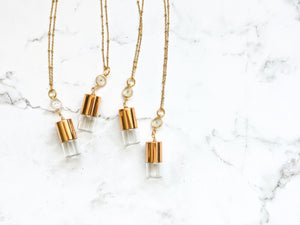 WHITE FORGET ME NOT | ROLLER BOTTLE NECKLACE