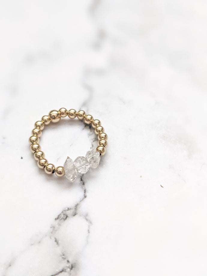 GOLD FILL DAINTY HERKIMER | STACKER RING