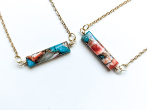 SPINY OYSTER TURQUOISE BAR DIFFUSER NECKLACE
