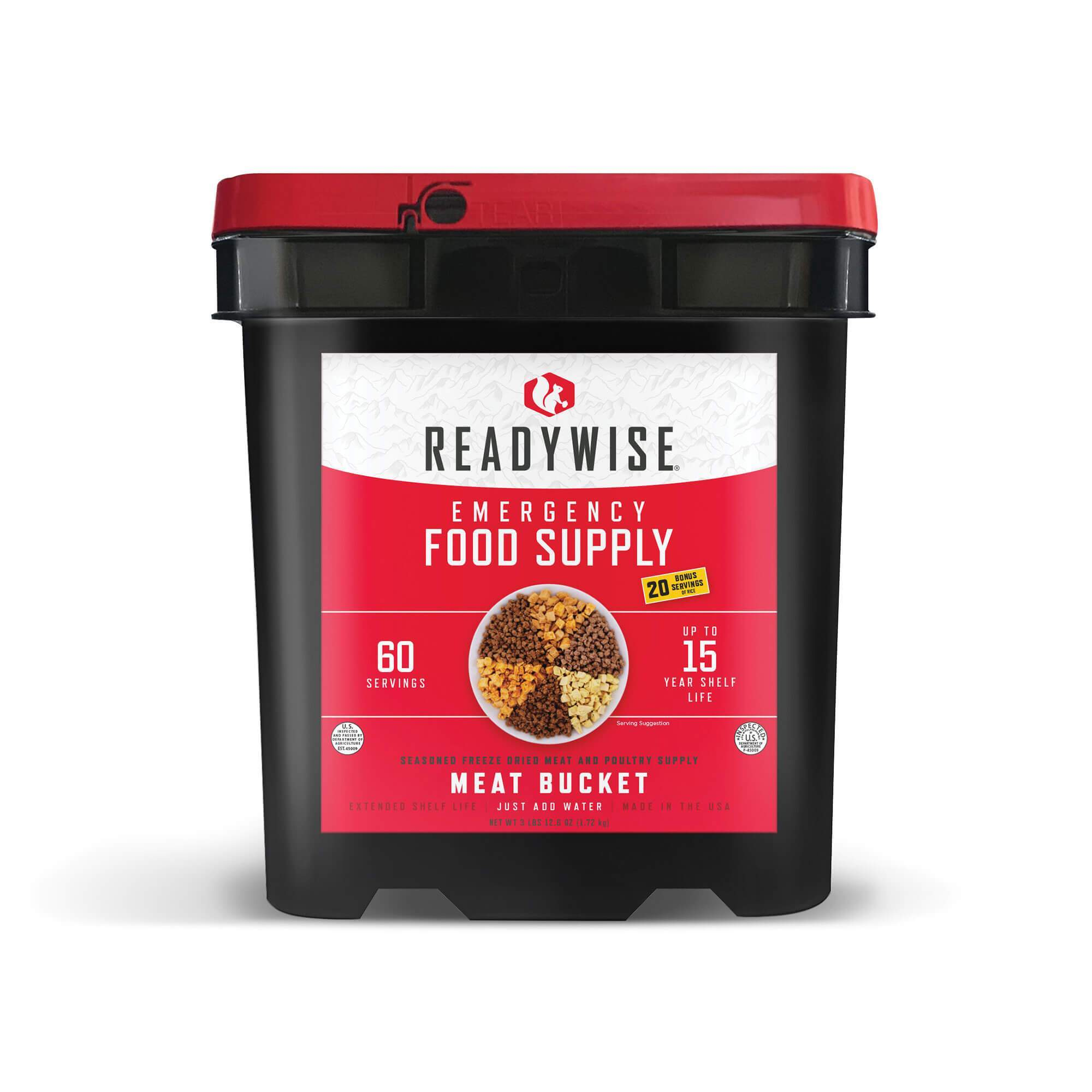 60 Serving Freeze Dried Meat Bucket + 20 Servings Of Rice- Free Shipping