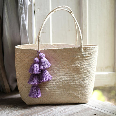 Borneo Sani Straw Tote Bag - with Purple Tassels - Organic World Nation