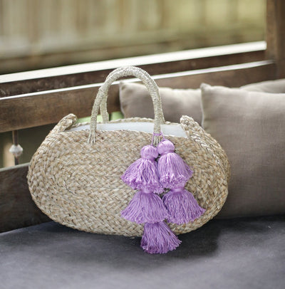 Oval Luna Straw Tote Bag - with Lavender Purple Tassels - Organic World Nation