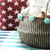 Borneo Extra Wide Organizer Basket - with Mint Pom-poms - Organic World Nation
