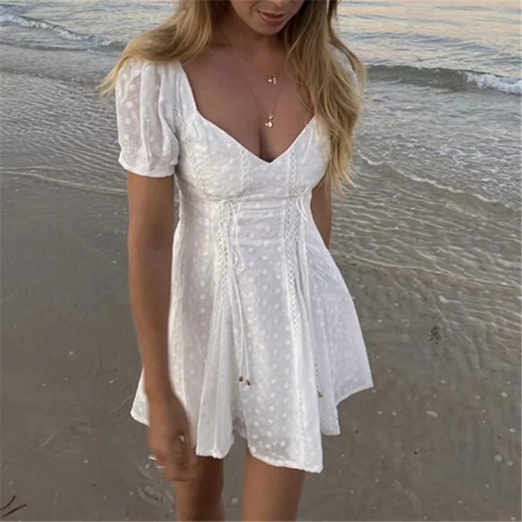 Elegant White Women Lace Dress - Organic World Nation