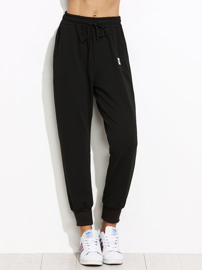 Black Drawstring Patch Peg Pants - Organic World Nation