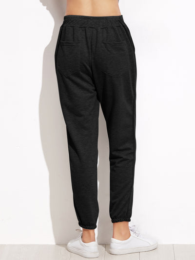 Black Elastic Waist Pocket Pants - Organic World Nation