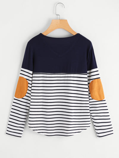 Striped Elbow Patch Curved Hem T-shirt - Organic World Nation