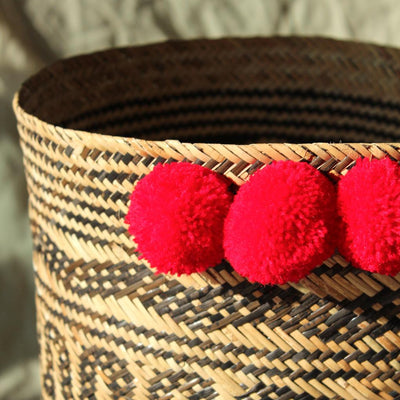 Borneo Tribal Drum Basket - with Red Hot Pom-poms - Organic World Nation