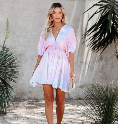 Batwing Sleeve V-neck Tie-dye Elegant Dress - Organic World Nation