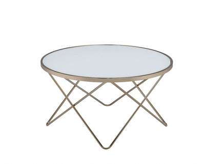 "34"" X 34"" X 18"" Frosted Glass Champagne Coffee Table - Organic World Nation"