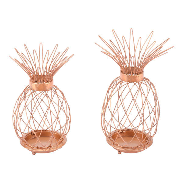 "9.8"" X 9.4"" X 15.4"" 2 Pcs Copper Candle Holders - Organic World Nation"