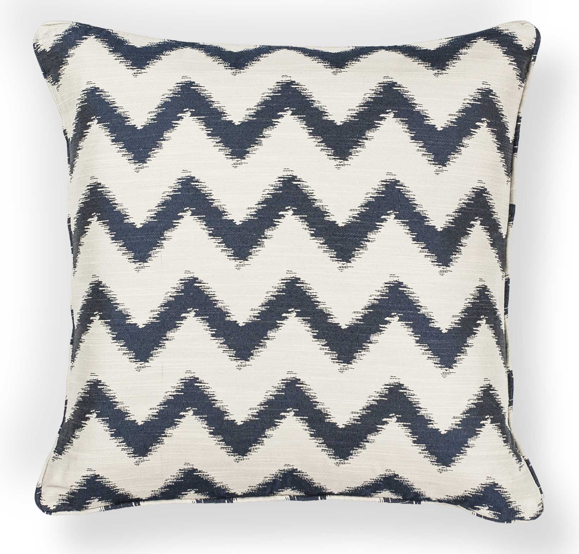 "18"" x 18"" Polyester Ivory/Navy Pillow - Organic World Nation"