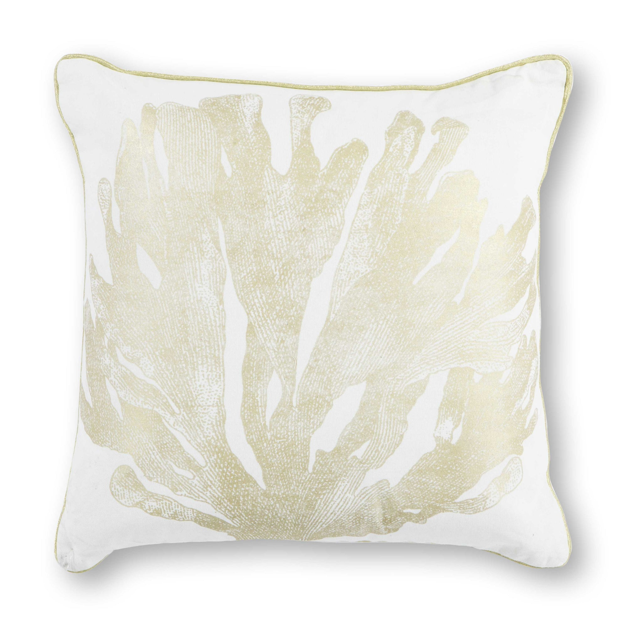 "18"" x 18"" Cotton Ivory/Gold Pillow - Organic World Nation"