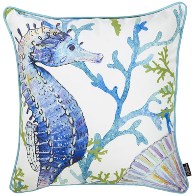 "18""x18"" Marine Seahorse Decorative Throw Pillow Cover Printed - Organic World Nation"