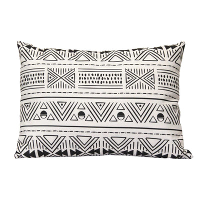 "20"" X 5.5"" X 14"" Black And White Polyester Lumbar Pillow - Organic World Nation"