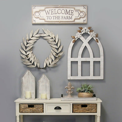 "24.8"" X 1.38"" X 22.44"" White Metal Wall Décor - Organic World Nation"