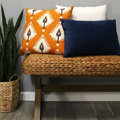 "18"" X 5.5"" X 18"" Orange Cotton Polyester Square Pillow - Organic World Nation"