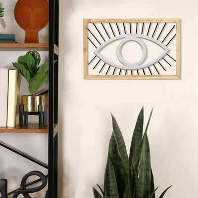 "20.08"" X 0.59"" X 12.5"" Natural White Wood Metal Mdf Wall Decor - Organic World Nation"