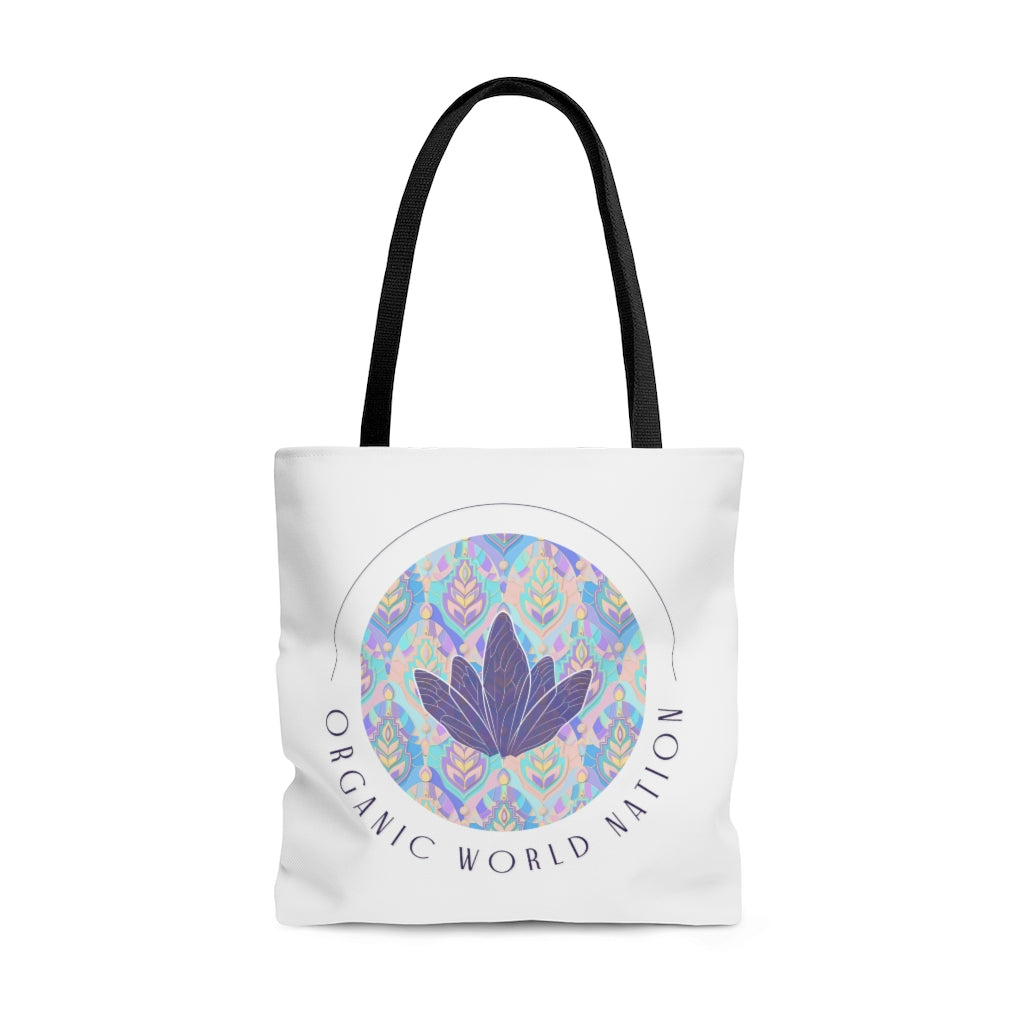 White Organic World Nation AOP Tote Bag - Organic World Nation