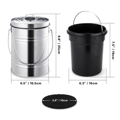 3L Silver Compost Bin - Organic World Nation