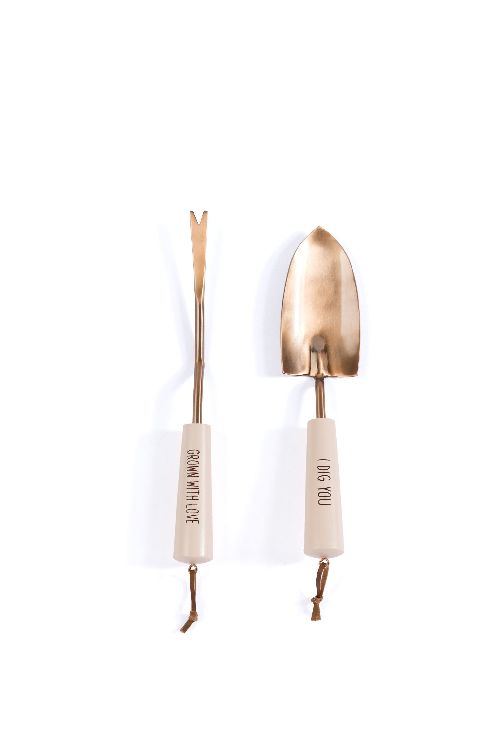 """I DIG YOU/GROW WITH LOVE"" SET OF 2 GARDEN TOOLS, BLUSH - Organic World Nation"