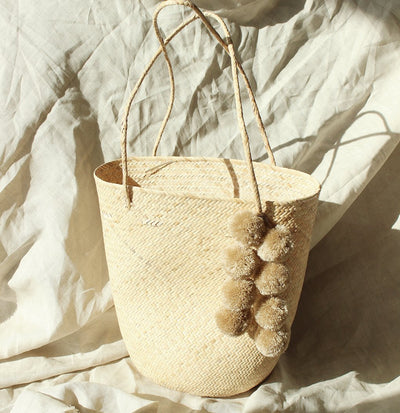 Borneo Serena Straw Tote Bag with Nude Beige - Organic World Nation