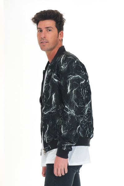 BOLT BOMBER JACKET- BLACK - Organic World Nation