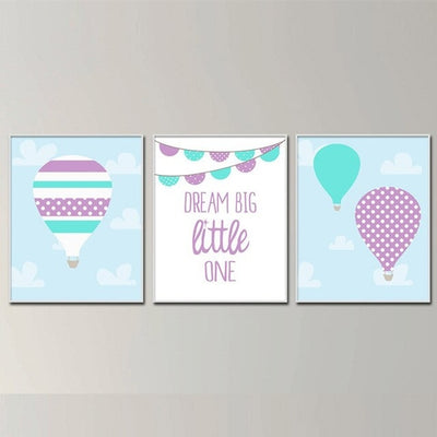 Baby Girl Nursery Art Air Balloon and Dream - Organic World Nation