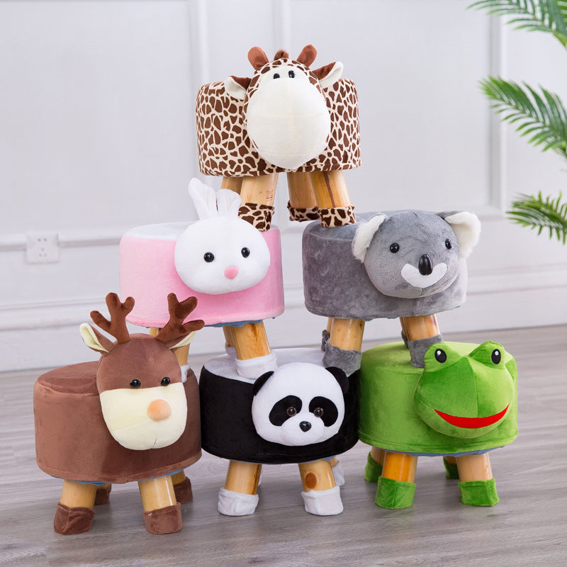 Creative cartoon animal stool solid wood - Organic World Nation