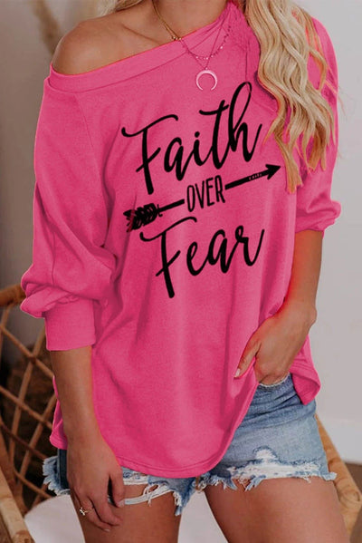 Faith OVER Fear Rose Long Sleeve T-Shirt - Organic World Nation