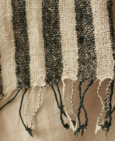 Hand-loomed Raw Cotton Scarf, in Black - Organic World Nation