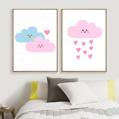 Cartoon I Love You Baby Cloud Rain Wall - Organic World Nation