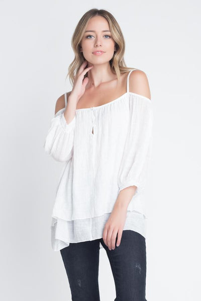 Women's 3/4 Sleeve Cold Shoulder Buttoned Top - Organic World Nation