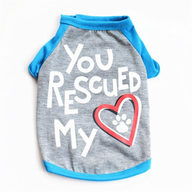 Letter You Rescued My Heart Pet Kitty Dog T Shirt - Organic World Nation
