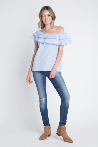 Women's Striped Off Shoulder Ruffle Stripe Blouse - Organic World Nation
