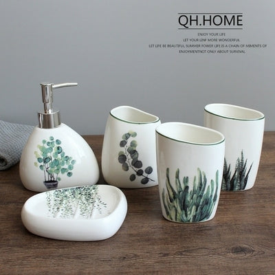 Nordic green plant ceramic six piece bathroom products Simple five - Organic World Nation