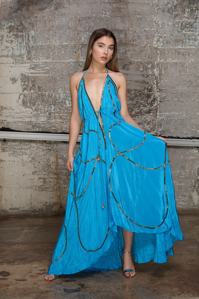 Turquoise summer dress - Organic World Nation