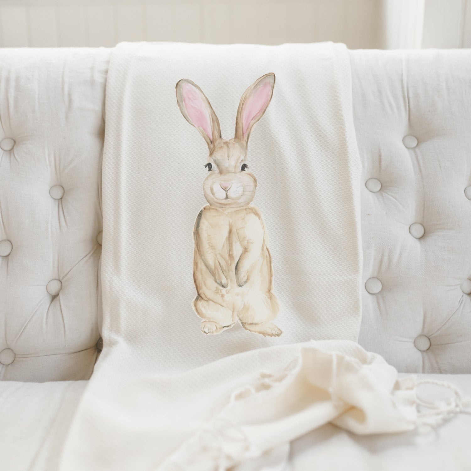 Bunny Watercolor Throw Blanket - Organic World Nation