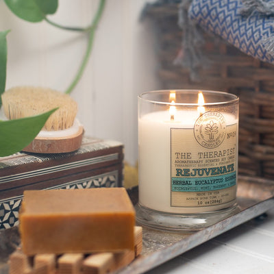 The Therapist Rejuvenate Herbal Eucalyptus Soy Candle Made in USA - Organic World Nation