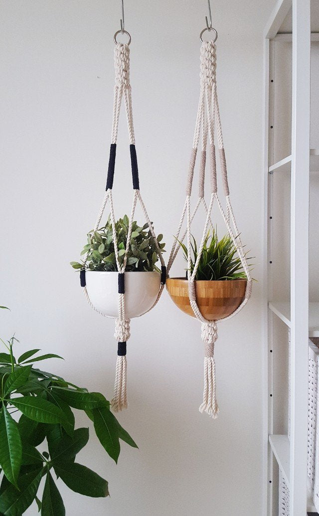 Macrame Plant Hanger, Hanging Planter, Color Block - Organic World Nation