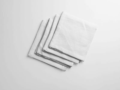 100% European Flax Linen Napkins With Merrow Edge Stitching (Set of 4) - Organic World Nation