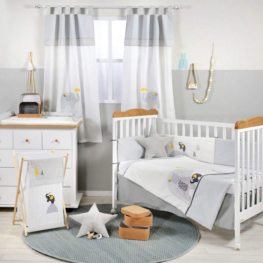 Gray And Yellow Elephant Crib Bedding - Organic World Nation
