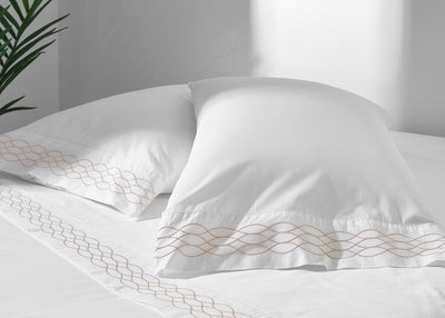 100% Supima Cotton, 400 Thread Count Percale Ogee Embroidered Hem - Organic World Nation