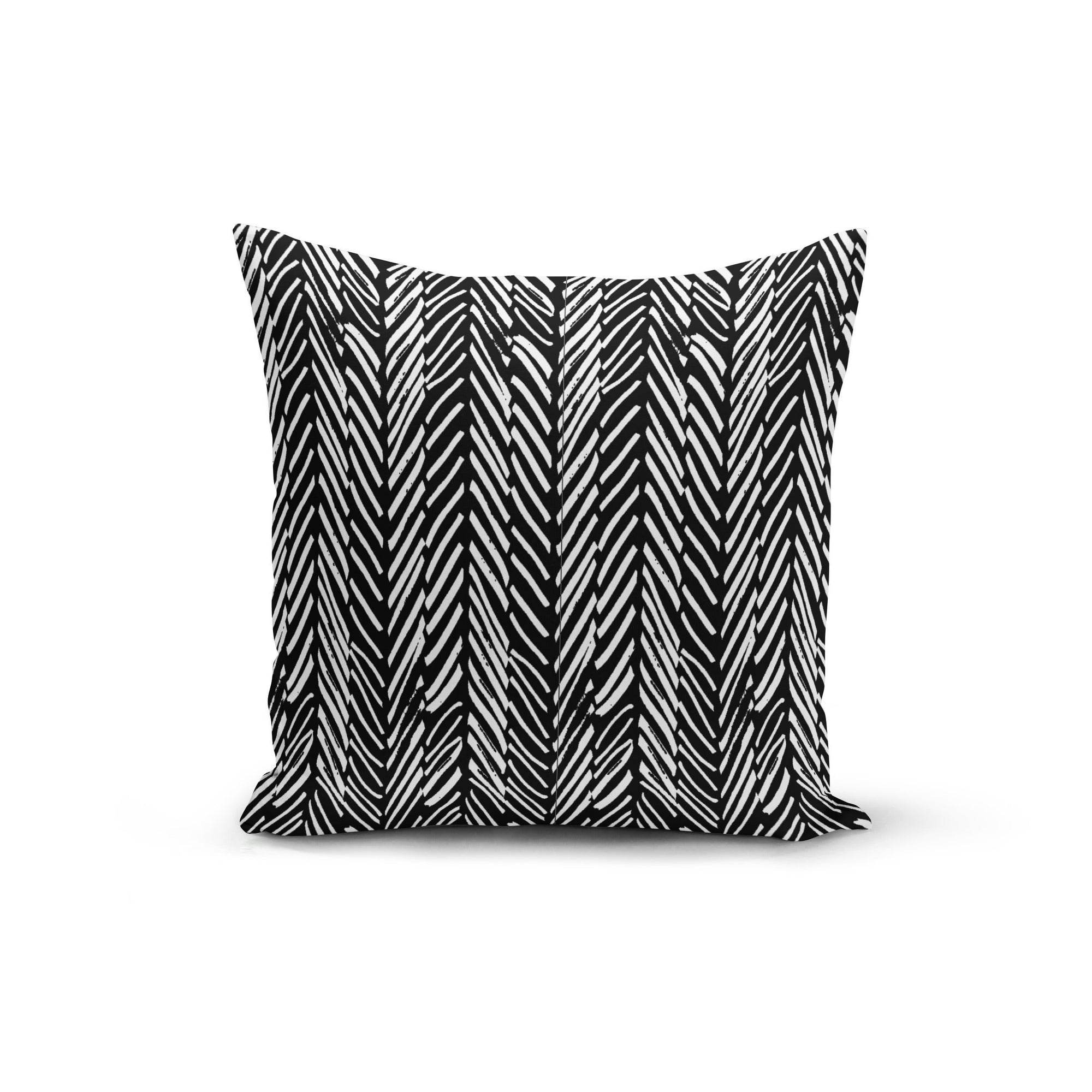 Abstract Lines Black Pillow Cover - Organic World Nation