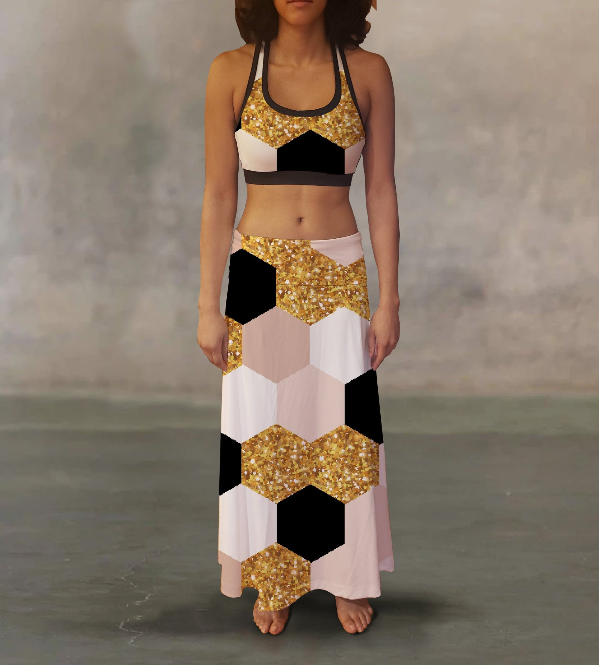Geometric Wrapping Paper Maxi Skirt - Organic World Nation