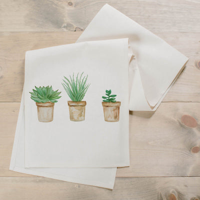 Succulent Pots Watercolor Table Runner - Organic World Nation
