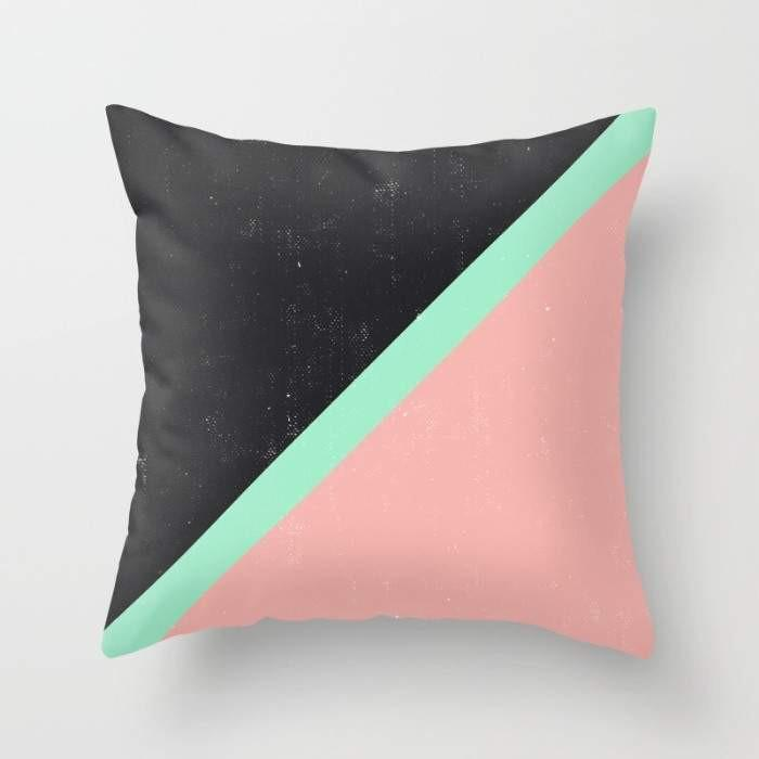 Modern Pillow Pink Mint Green Block Black - Organic World Nation